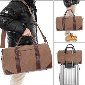 Oversized Travel Duffel Bag, Brown Canvas